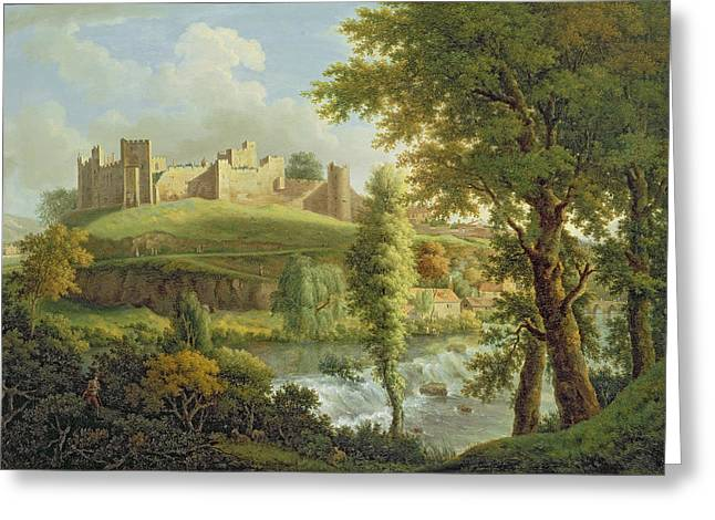 Wood Castle Greeting Cards - Ludlow Castle with Dinham Weir Greeting Card by Samuel Scott