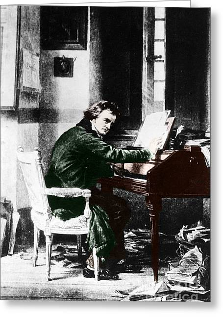 Virtuoso Greeting Cards - Ludwig Van Beethoven, German Composer Greeting Card by Photo Researchers, Inc.