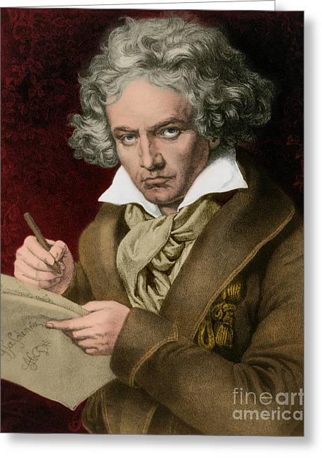 Virtuoso Greeting Cards - Ludwig Van Beethoven, German Composer Greeting Card by Photo Researchers