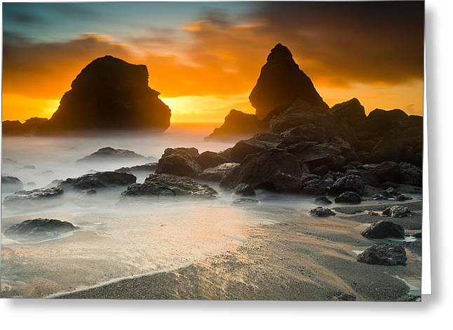 Trinidad Beach Sunset Greeting Cards - Luffenholtz Winter Sunset 1 Greeting Card by Greg Nyquist