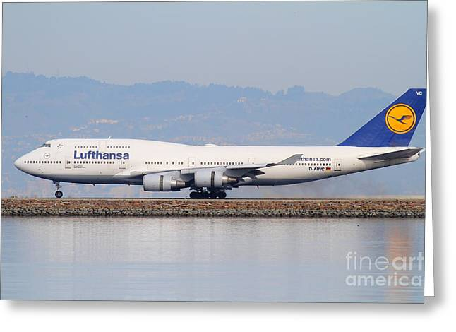 Lufthansa Greeting Cards - Lufthansa Jet Airplane At San Francisco International Airport SFO . 7D12115 Greeting Card by Wingsdomain Art and Photography