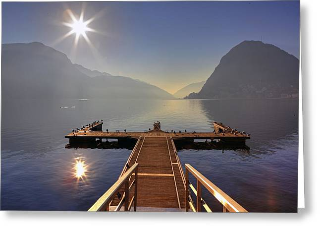 Docked Boat Greeting Cards - Lugano Greeting Card by Joana Kruse