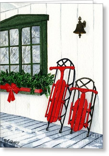 Sleigh Greeting Cards - Luges de Noel Greeting Card by Caroline Boyer