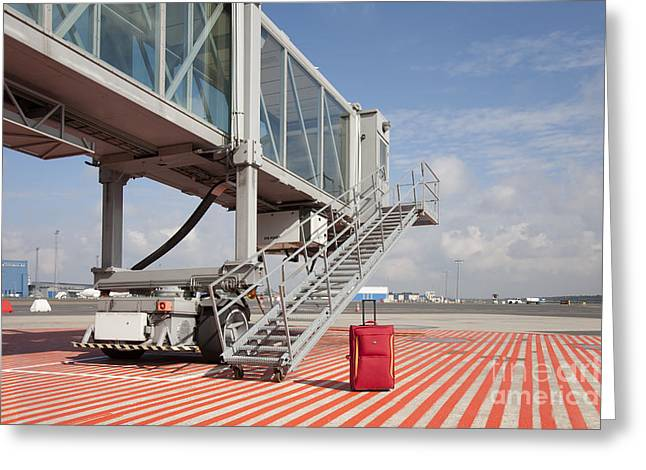 Tallinn Airport Greeting Cards - Luggage at a Gate Bridge Greeting Card by Jaak Nilson