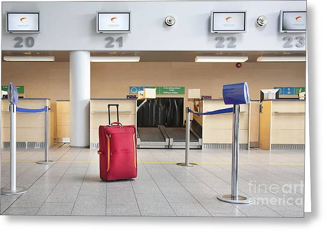 Tallinn Airport Greeting Cards - Luggage at an Airline Check-In Counter Greeting Card by Jaak Nilson