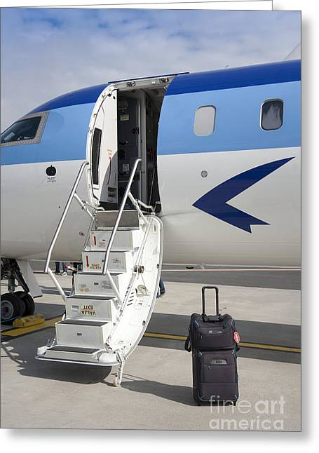 Rolling Luggage Greeting Cards - Luggage Near Airplane Steps Greeting Card by Jaak Nilson