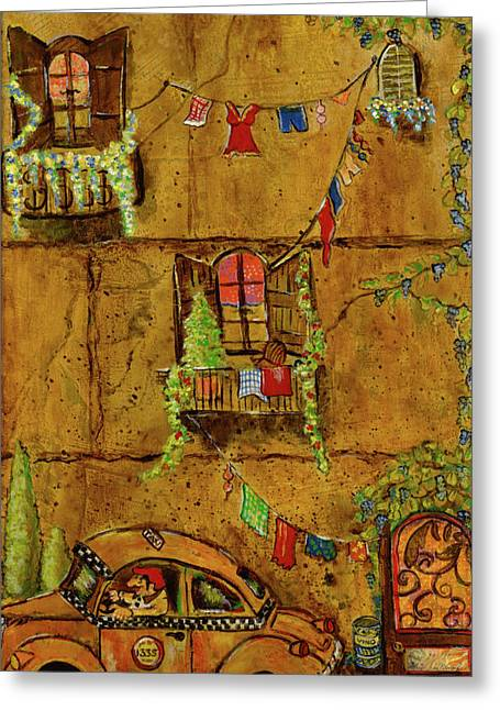 Vinos Mixed Media Greeting Cards - Luigis Taxi Greeting Card by Gypsy McKinna