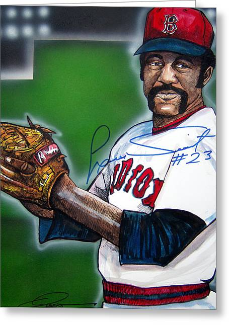 Red Sox Paintings Greeting Cards - Luis Tiant Greeting Card by Dave Olsen