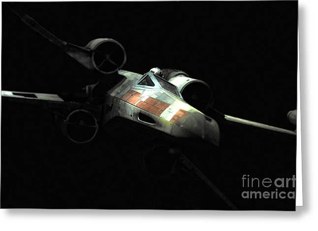 X-wing Greeting Cards - Lukes original X-Wing Greeting Card by Micah May