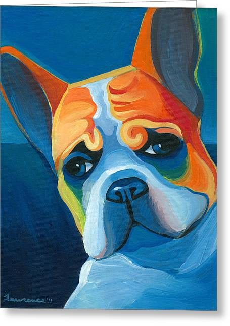 Bulldog Paintings Greeting Cards - Lulu Greeting Card by Mike Lawrence