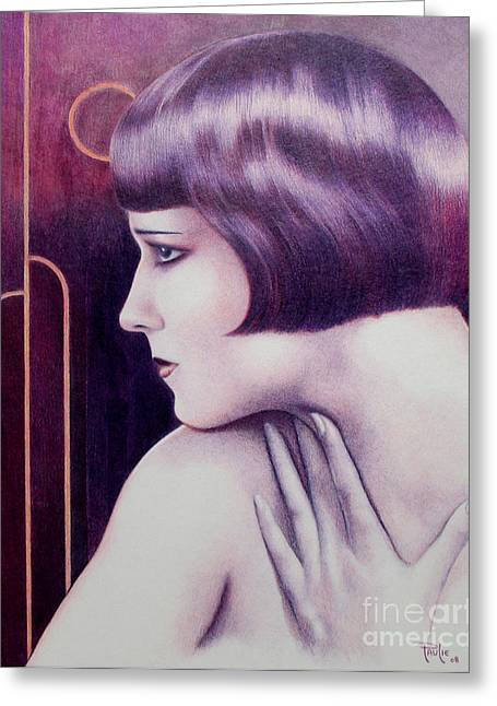 Brook Drawings Greeting Cards - Lulu Portrait of Louise Brooks Greeting Card by Paul Petro
