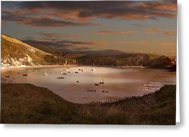 Kris Dutson Greeting Cards - Lulworth Cove Sunset Greeting Card by Kris Dutson
