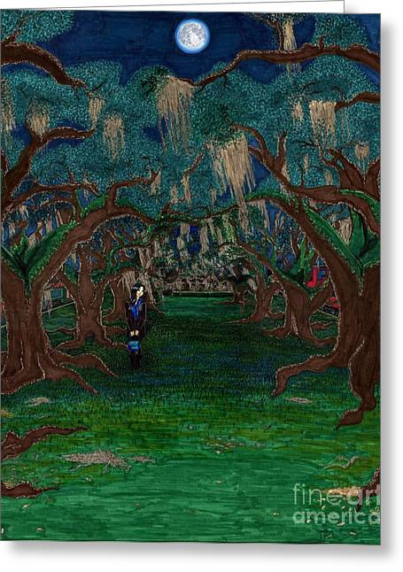 Park Scene Drawings Greeting Cards - Lumiare Lunaire  Rose Tendre Greeting Card by Matthew Fields