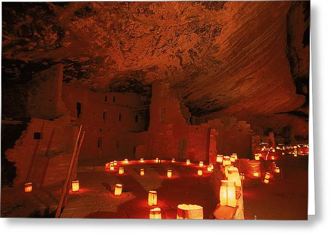 Pre Columbian Architecture And Art Greeting Cards - Luminarias Light Up The Anasazi Spruce Greeting Card by Ira Block