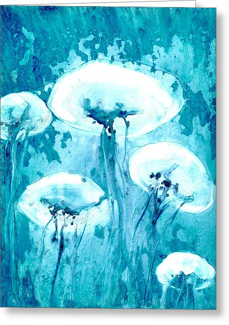 White Jelly Fish Greeting Cards - Luminous Greeting Card by Brazen Edwards