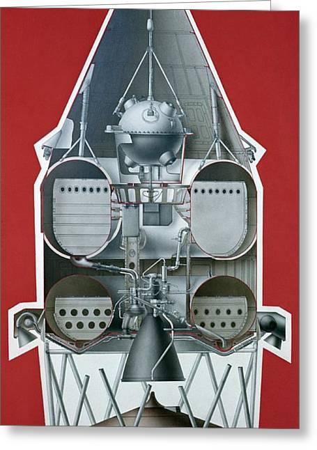 Luna Greeting Cards - Luna 1 Launch Vehicle, Diagram Greeting Card by Ria Novosti