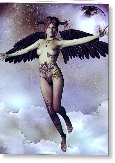 Luna Angelica Greeting Card by Maynard Ellis