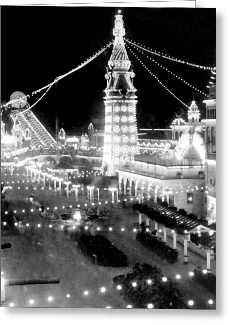 Luna Greeting Cards - Luna Park - Coney Island - New York at night - c 1903  Greeting Card by International  Images