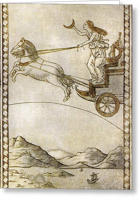 Horse Pulling Wagon Greeting Cards - Luna Xxxi Tarot Card Greeting Card by Photo Researchers