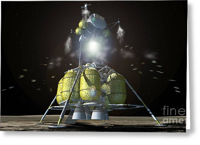 21st Greeting Cards - Lunar Lander Leaving The Moon Greeting Card by NASA / Science Source