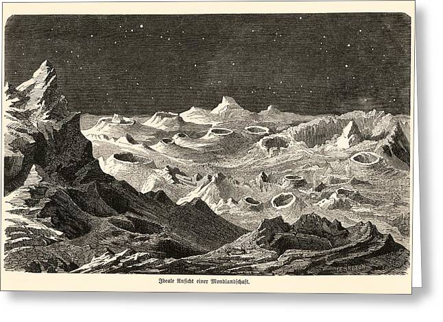 Selenology Greeting Cards - Lunar Landscape, 1872 Artwork Greeting Card by Detlev Van Ravenswaay