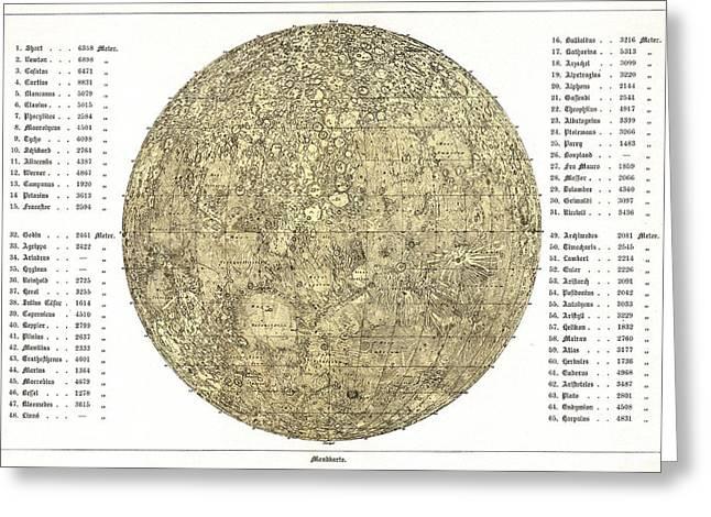 Selenology Greeting Cards - Lunar Map, 1822 Greeting Card by Detlev Van Ravenswaay
