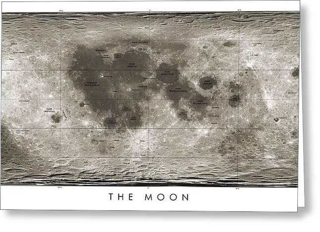 Selenology Greeting Cards - Lunar Map Greeting Card by Detlev Van Ravenswaay