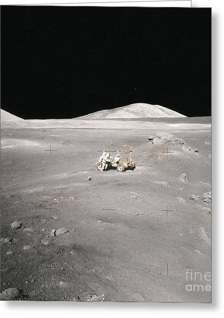 Selenology Greeting Cards - Lunar Rover And Harrison Schmitt Greeting Card by Science Source
