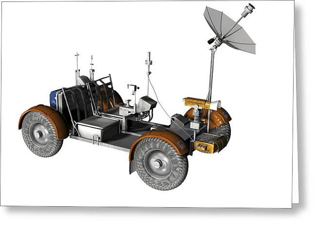 Single Seater Greeting Cards - Lunar Rover, Artwork Greeting Card by Friedrich Saurer