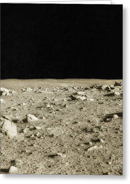 Color Enhanced Photographs Greeting Cards - Lunar Surface Greeting Card by Science Source