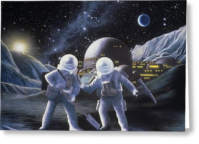 Lunar Base Greeting Cards - Lunar Survey Team Greeting Card by Julian Baum