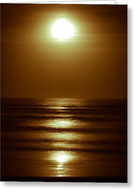 Moon Beach Greeting Cards - Lunar Tides I Greeting Card by DigiArt Diaries by Vicky B Fuller