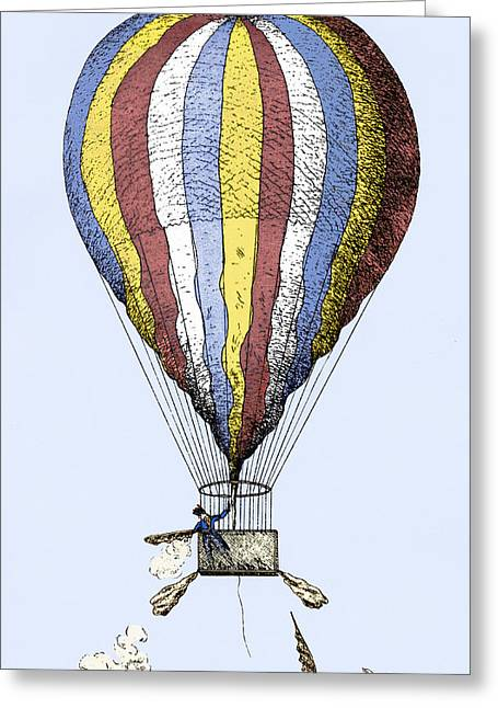 History Of Flying Greeting Cards - Lunardis Balloon, 1784 Greeting Card by Sheila Terry