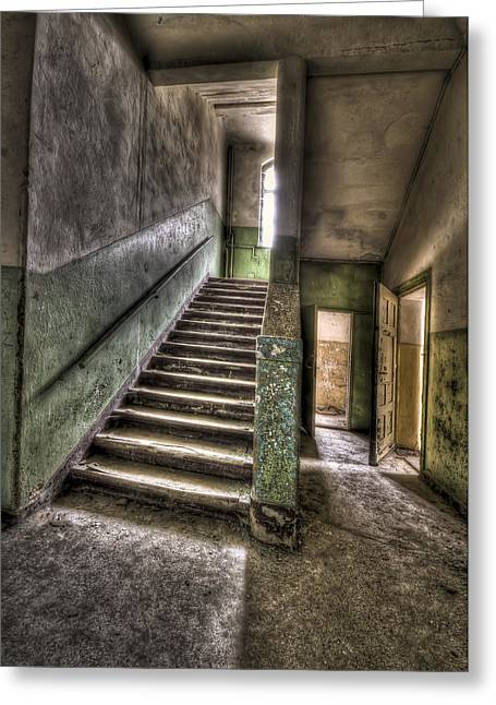 Lunatic Stairs Greeting Card by Nathan Wright
