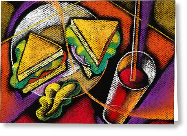 Hamburger Greeting Cards - Lunch Greeting Card by Leon Zernitsky