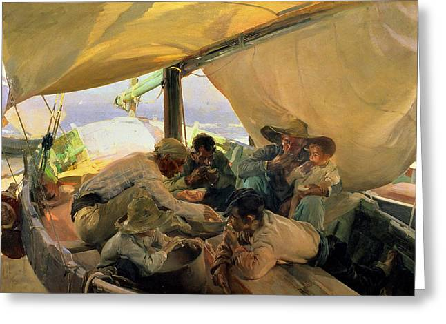 Docked Sailboats Greeting Cards - Lunch on the Boat Greeting Card by Joaquin Sorolla y Bastida