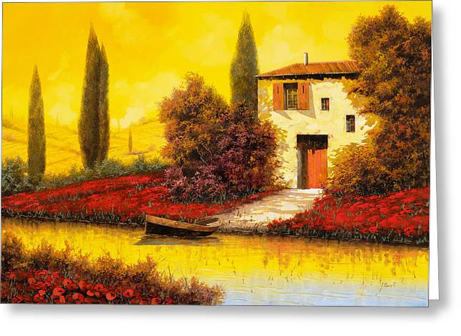 Sunset Greeting Cards - Lungo Il Fiume Tra I Papaveri Greeting Card by Guido Borelli