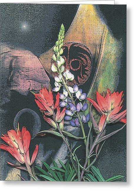 Visionary Artist Greeting Cards - Lupin and Indian Paintbrush Greeting Card by George  Page