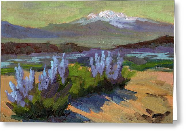 Desert Lake Paintings Greeting Cards - Lupine in Bloom Greeting Card by Diane McClary