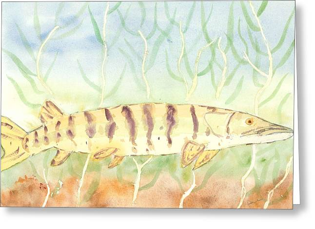 Muskellunge Greeting Cards - Lurking Tiger Greeting Card by David Crowell