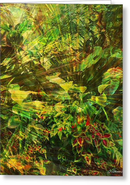 Lush Green Mixed Media Greeting Cards - Lush Escape Greeting Card by Maria Eames