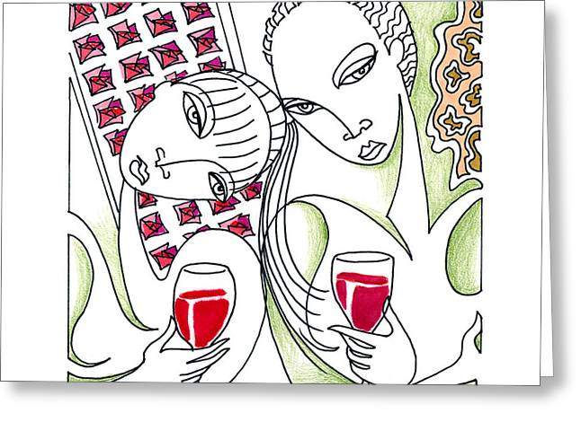 Pinot Drawings Greeting Cards - Lush Life Greeting Card by Roy Guzman