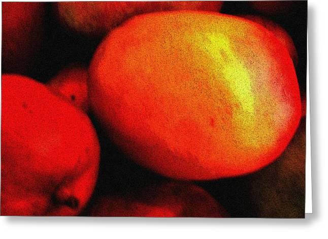 Mango Greeting Cards - Lush Mangoes Greeting Card by Eve Paludan