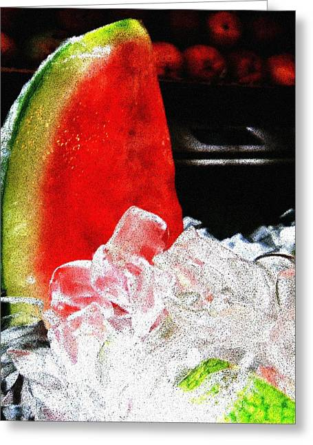 Watermelon Greeting Cards - Lush Watermelon on Ice Greeting Card by Eve Paludan