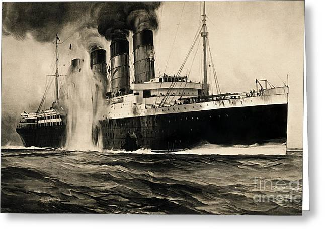 Enlistment Greeting Cards - Lusitania Hit By Torpedo, 1915 Greeting Card by Photo Researchers