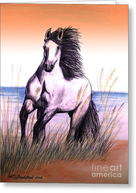 Breeds Pastels Greeting Cards - Lusitano Thunder By The Sea Greeting Card by Patricia L Davidson