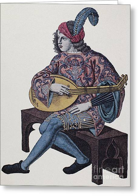 Willemin Greeting Cards - Lute Player, 1839 Greeting Card by Granger