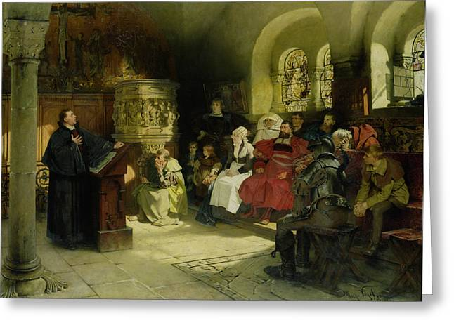 Interior Paintings Greeting Cards - Luther Preaches using his Bible Translation while Imprisoned at Wartburg Greeting Card by Hugo Vogel