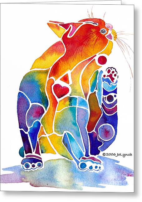 Whimsical Cat Art Greeting Cards - Luv Cat Greeting Card by Jo Lynch