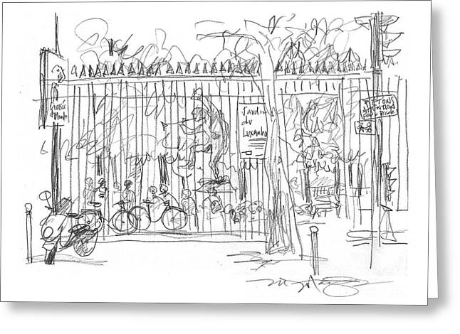 Garden Scene Drawings Greeting Cards - Luxembourg Garden Gate Greeting Card by Marilyn MacGregor